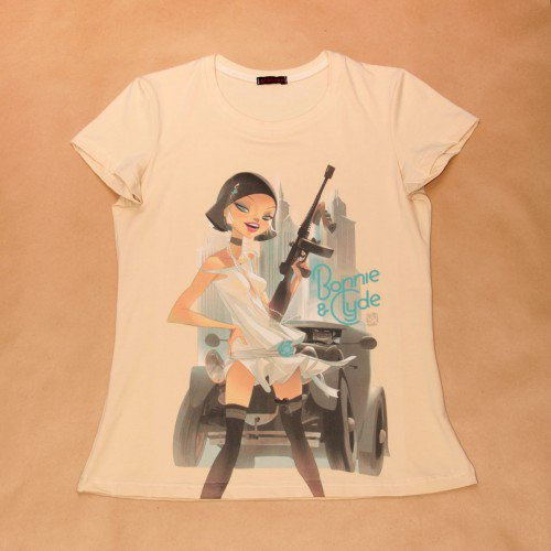 "Футболка женская с рисунком Otto Schmidt ""Bonnie & Clyde"""