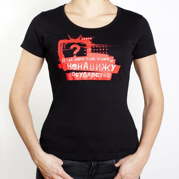 Lumen: женская черная футболка (t-12-B-WMN)
